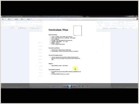 Curriculum Vitae Para Rellenar Con Foto Word 2010 Curriculum Basico