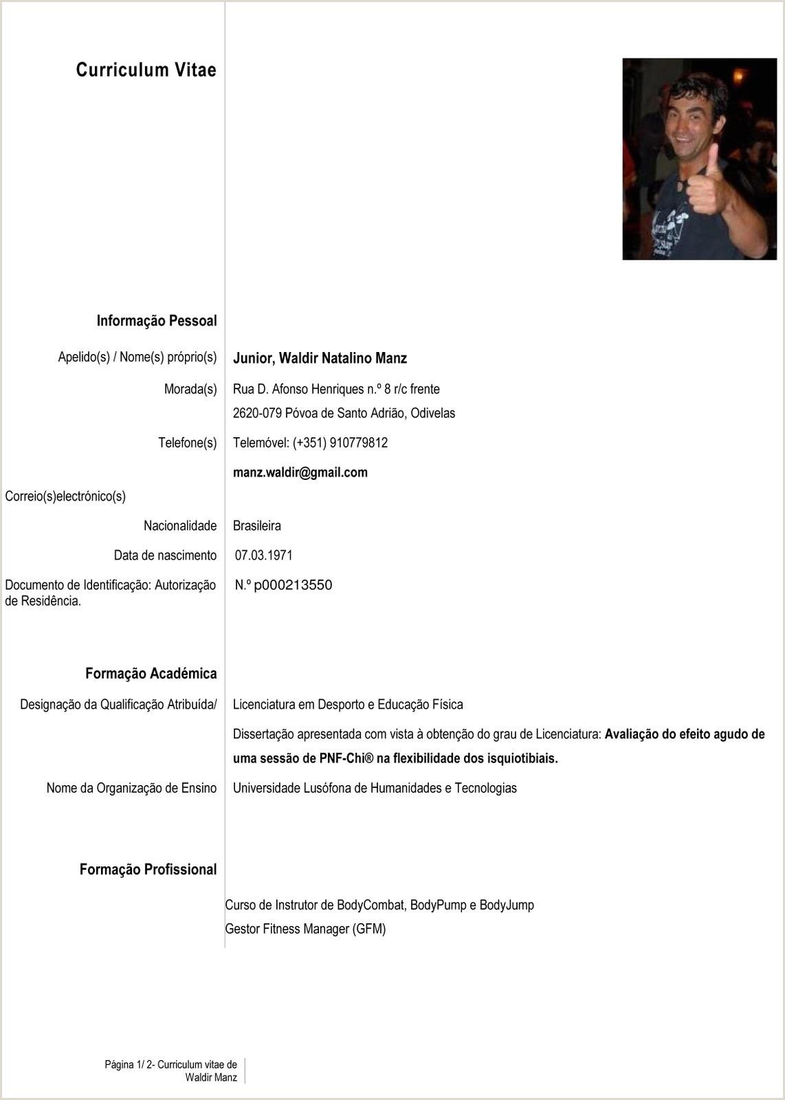 Curriculum Vitae Para Rellenar En Español 58 Modelo De Curriculum Vitae Espa±ol Para Rellenar