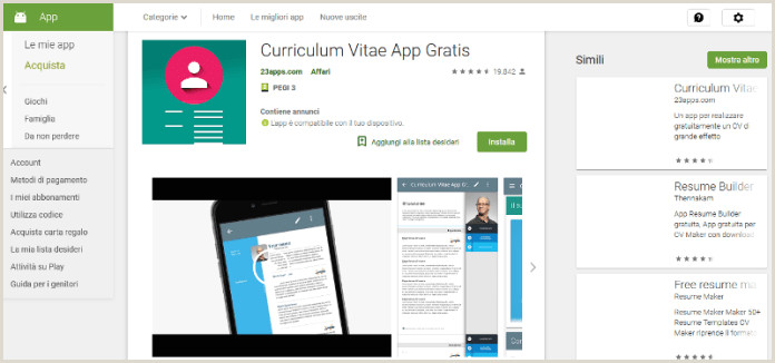 Curriculum Vitae Europeo App