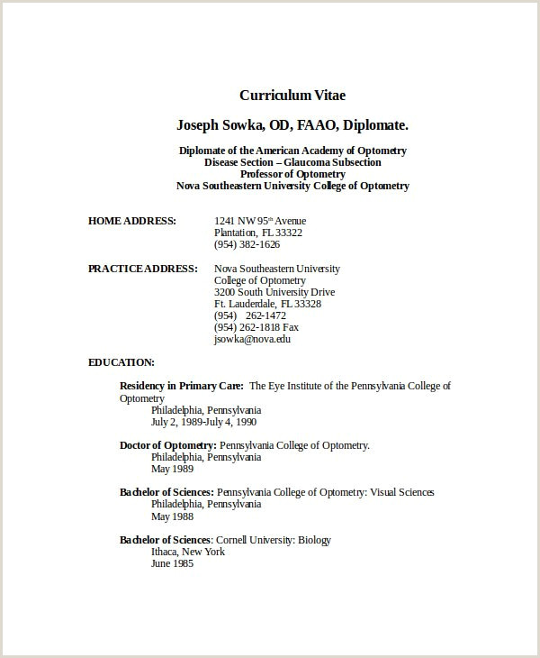 30 Free Curriculum Vitae Sample format