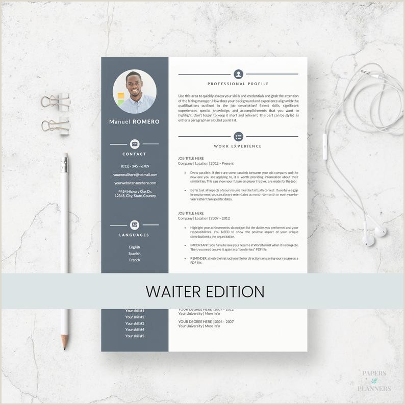 Waiter Resume Template for Microsoft Word Curriculum Vitae for Waiter and Waitress Server Resume Resume Templates