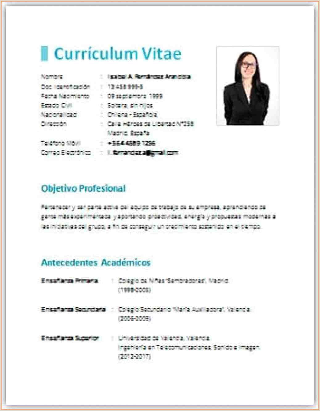 Curriculum Vitae Plantilla Para Rellenar E Imprimir by Congress Curriculum Vitae Plantilla Para