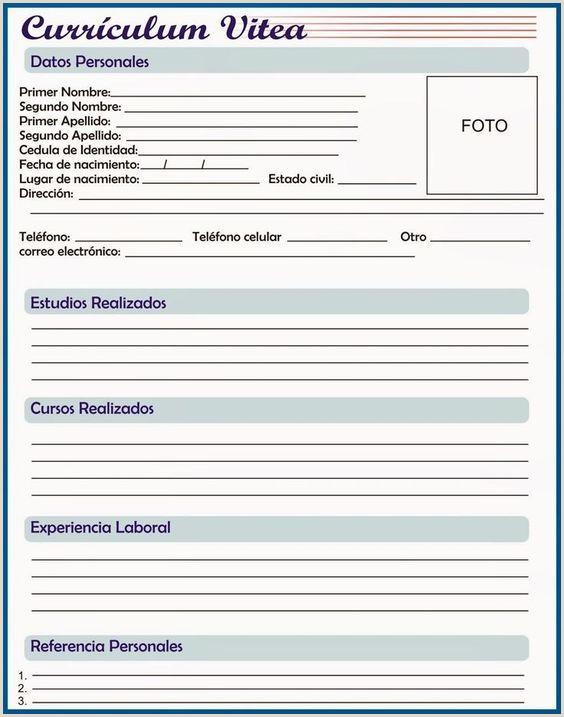 Curriculum Vitae Plantilla Para Rellenar Pdf Rellenar E Imprimir Curriculum Vitae Gratis