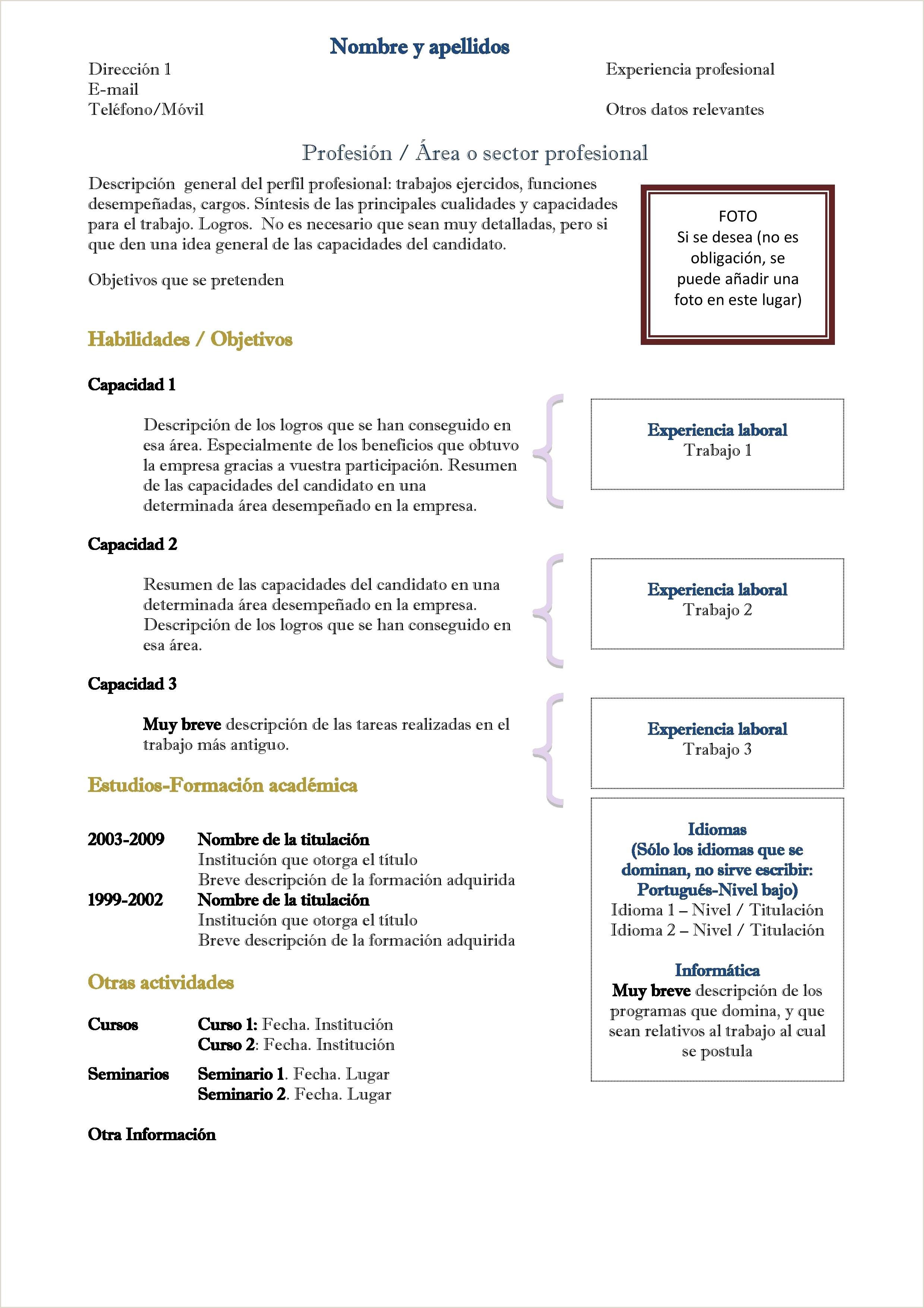 Curriculum Vitae Plantilla Word Para Rellenar Sencillo Curriculum Vitae Ingles Plantilla Word Para Rellenar