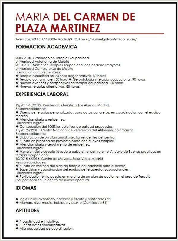 Curriculum Vitae Profesional Para Rellenar Terapia Ocupacional Modelo De Curriculum Vitae