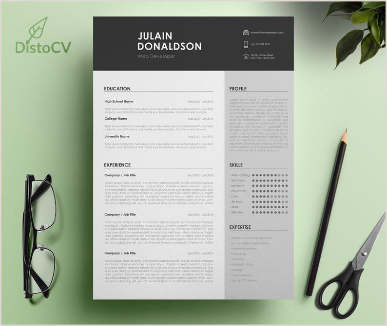 Modern Resume Template For Word Simple Resume Design Professional CV Template Resume CV Template Curriculum Vitae Web Developer Resume
