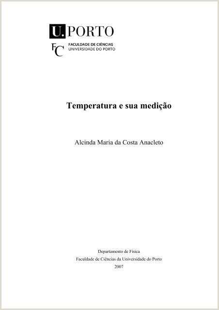 Curriculum Vitae Simples Preenchido Temperatura E Sua Medi§£o Universidade Do Porto