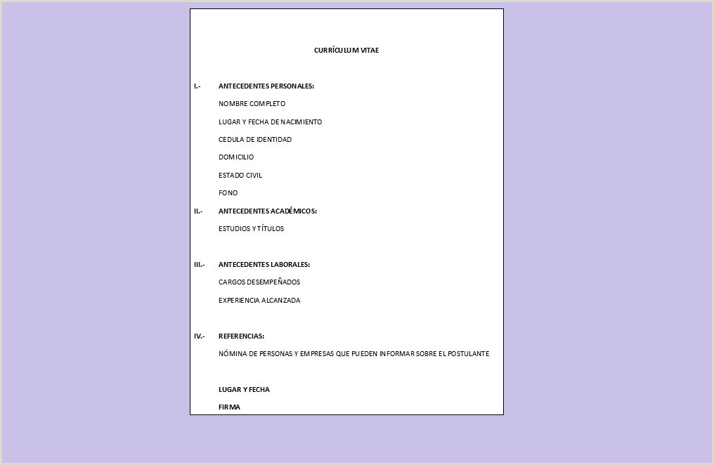 Curriculum Vitae Simples Word Para Preencher Curriculum Vitae formato Word Para Rellenar Gratis