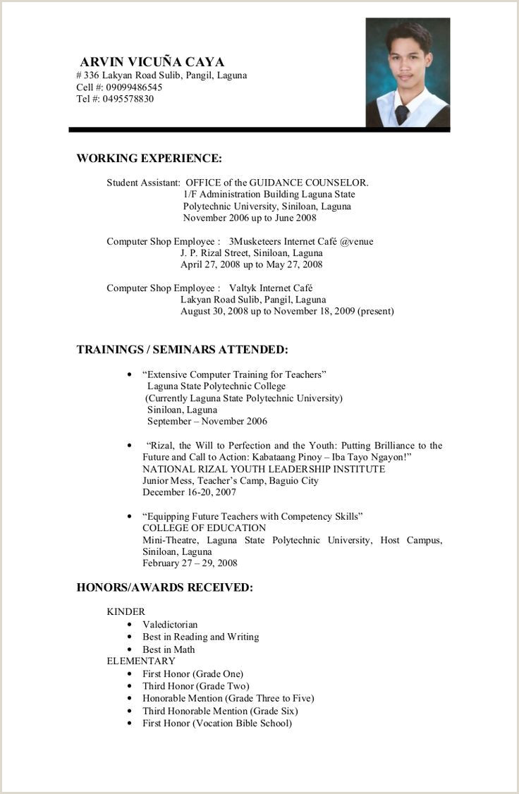 Example Resume Format For Student 3 Resume Format