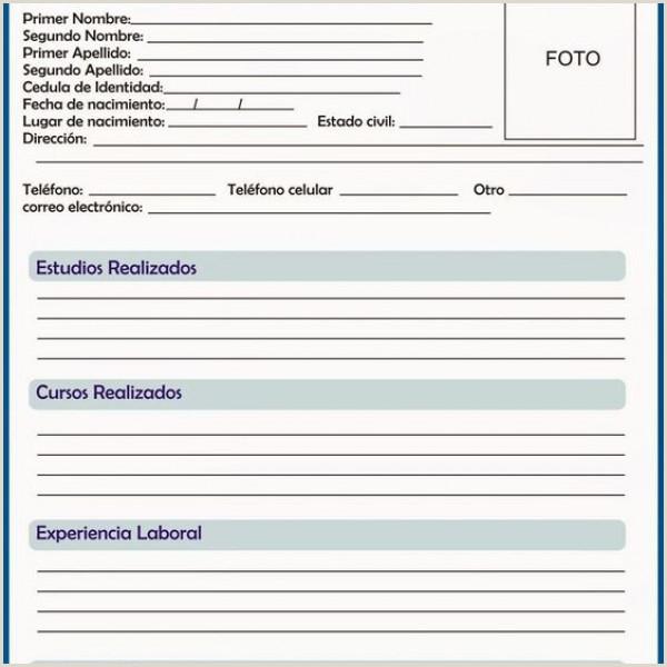 Curriculum Vitae Vacio Para Rellenar Rellenar E Imprimir Curriculum Vitae Gratis