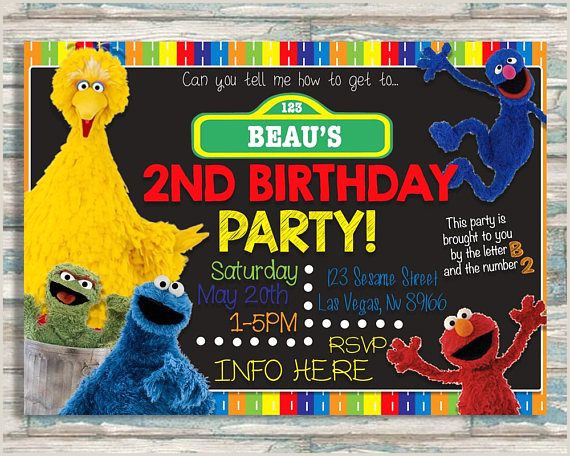 Custom Sesame Street Sign Elmo Sesame Street Birthday Party Invitation Photo 1st