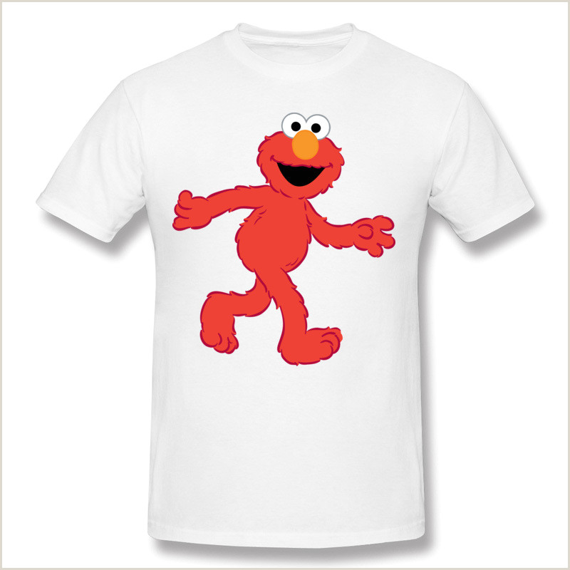 Customized Sesame Street Sign Brand Men Cotton Sesame Street Elmo T Shirts Men Round Neck White Short Sleeve T Shirts Big Size Customized T Shirts Edy T Shirt Humorous T Shirt