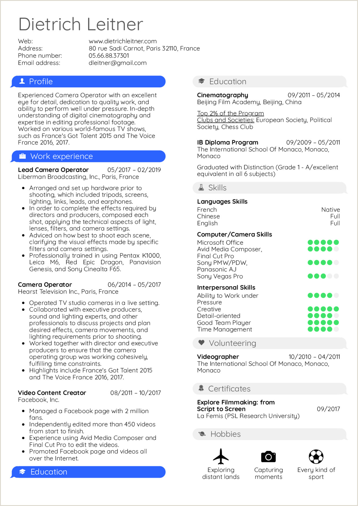 Resume Examples by Real People Camera Operator Resume