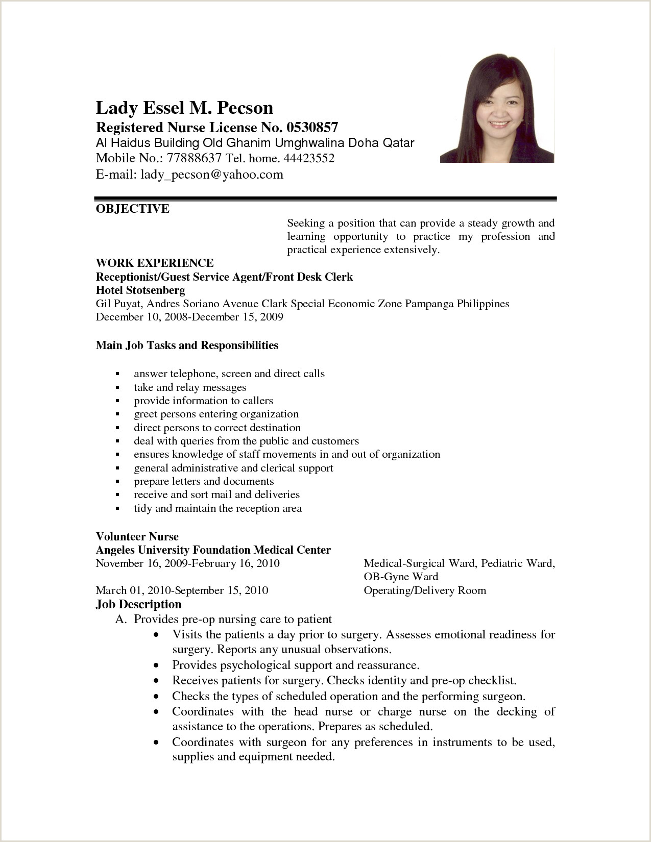Cv Example for Hotel Job Application Letter format for Volunteer Nurse order Custom