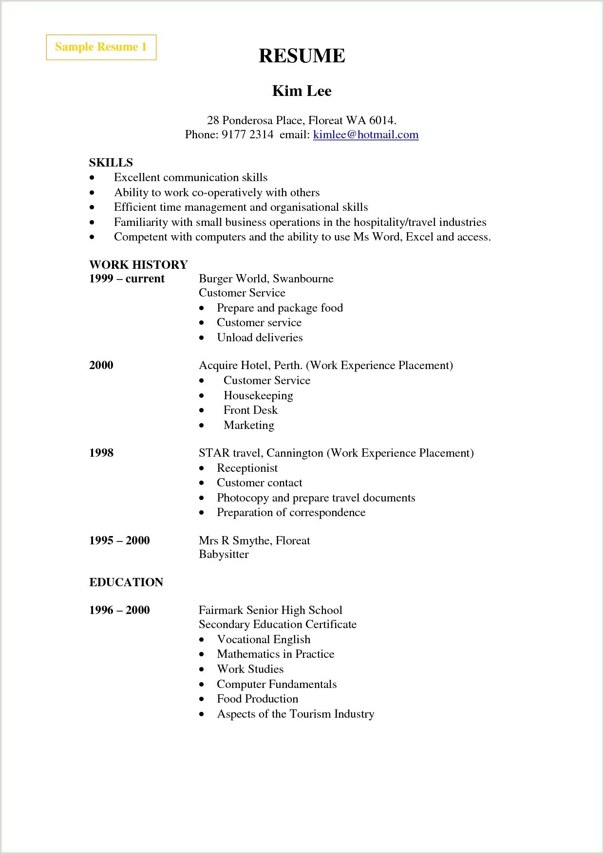 Cv Example For Hotel Job New Cv English Examples