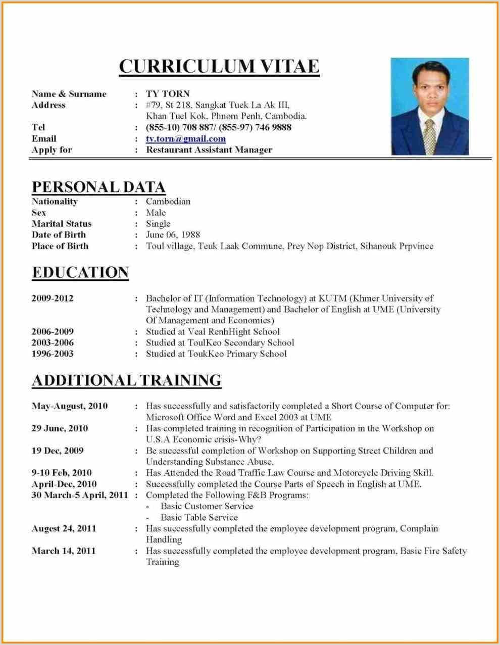 Cv Template Job Application 1 Cv Template