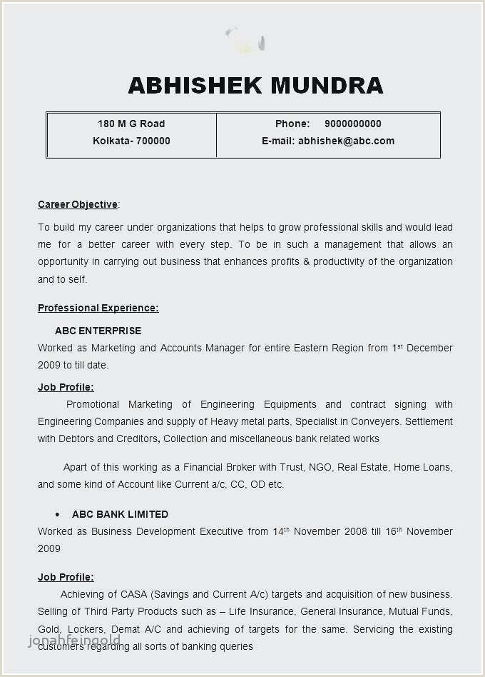 Fresh Resume Sample format Pdf – 50ger
