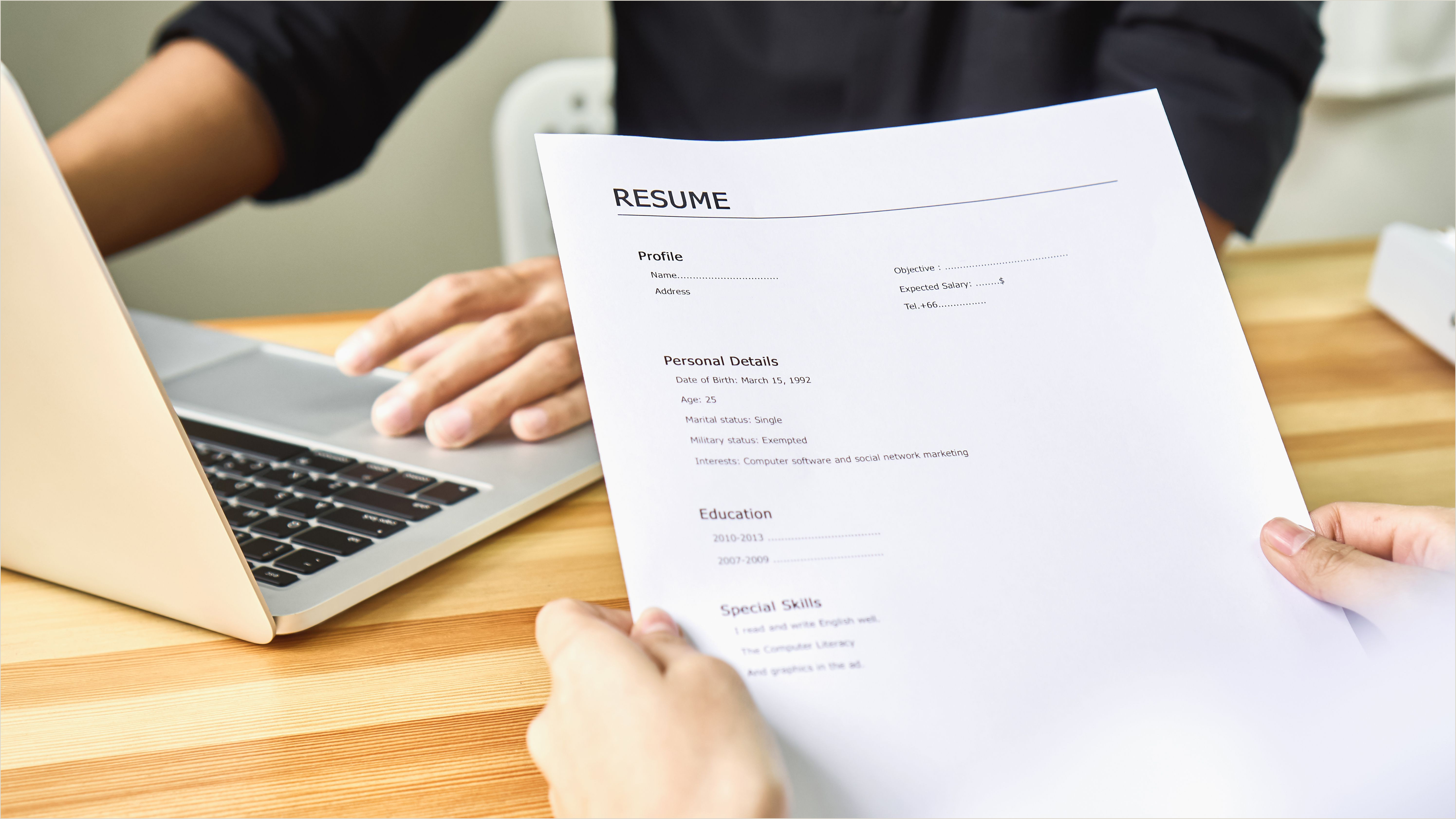 Standard Settings for Resume Margins