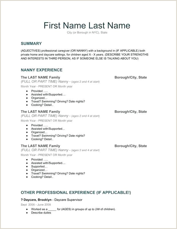 Cv Example For Nanny Job Organized Resume Template Our Nanny Resume Template Apply