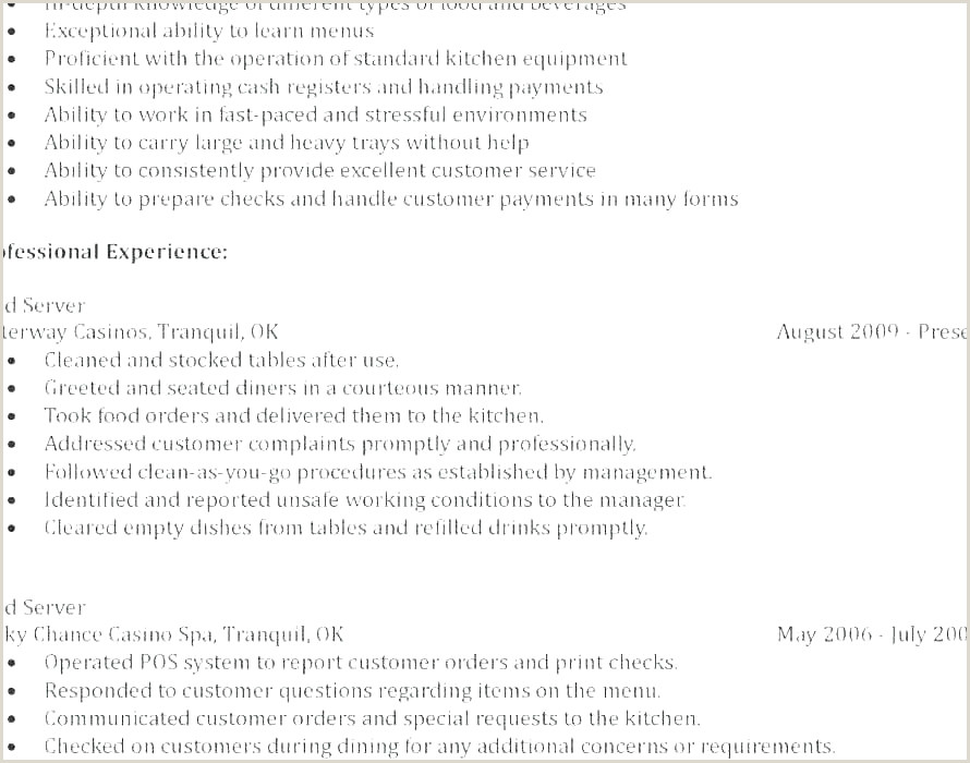 Cv Example for Waitress Job 18 New Graph Examples Resumes for Restaurant Jobs