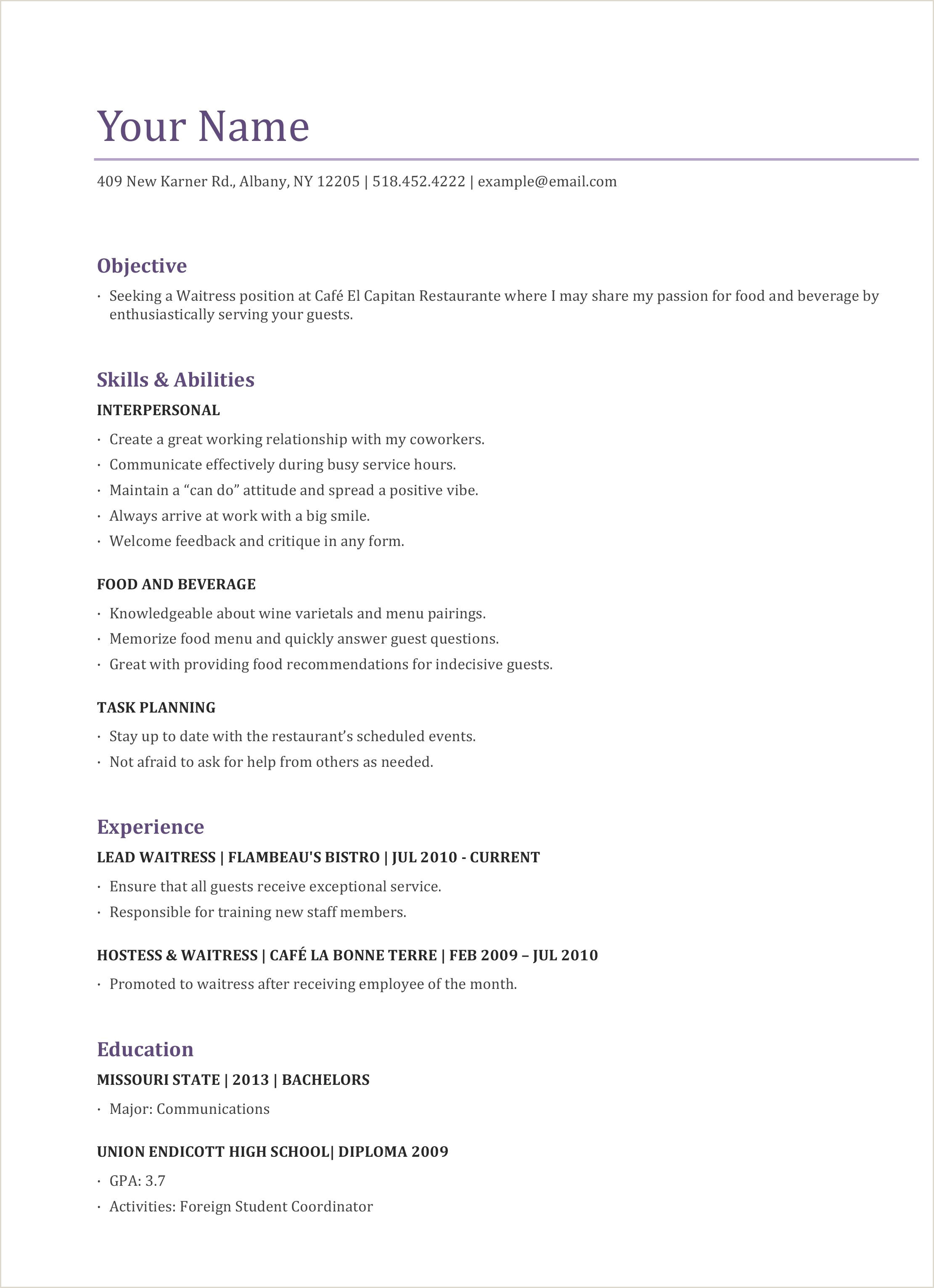 food service resume template templates and builder sample