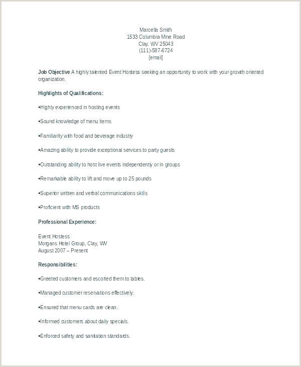 Cv Example for Waitress Job Waiter Cv Template