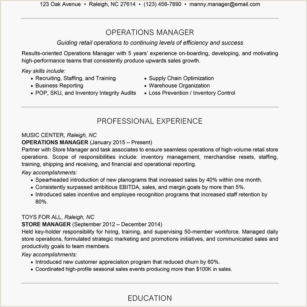 Cv Example for Warehouse Job Management Resume Examples and Writing Tips