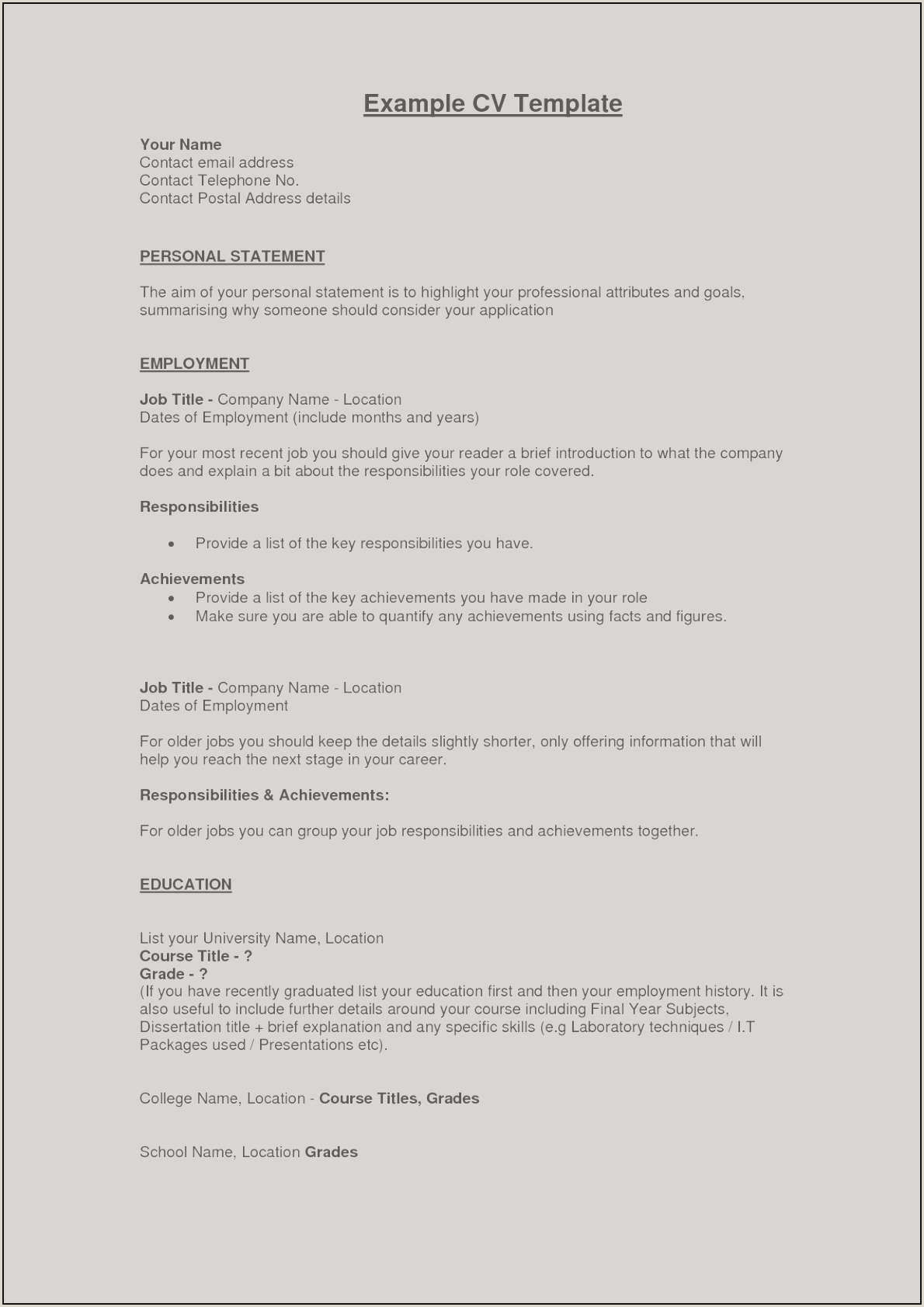 Cv Examples For First Job 1st Grade Book Report Template Unique Example Perfect Resume