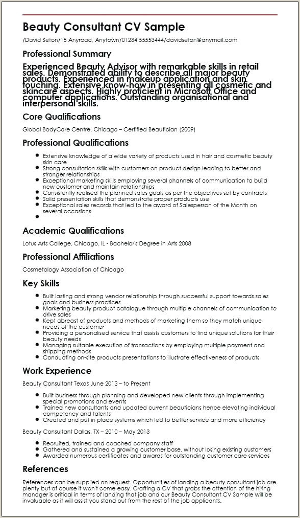 Beauty Consultant Sample Therapist Cv Template Word