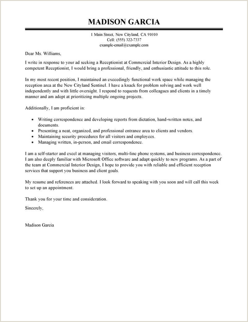 Cv Examples for Receptionist Job Best Receptionist Cover Letter Examples