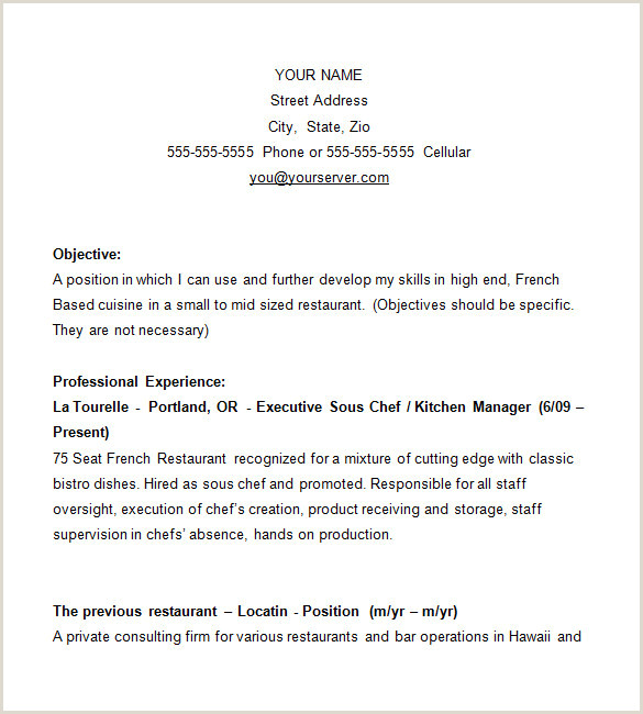 14 Chef Resume Templates Word PDF Google Docs
