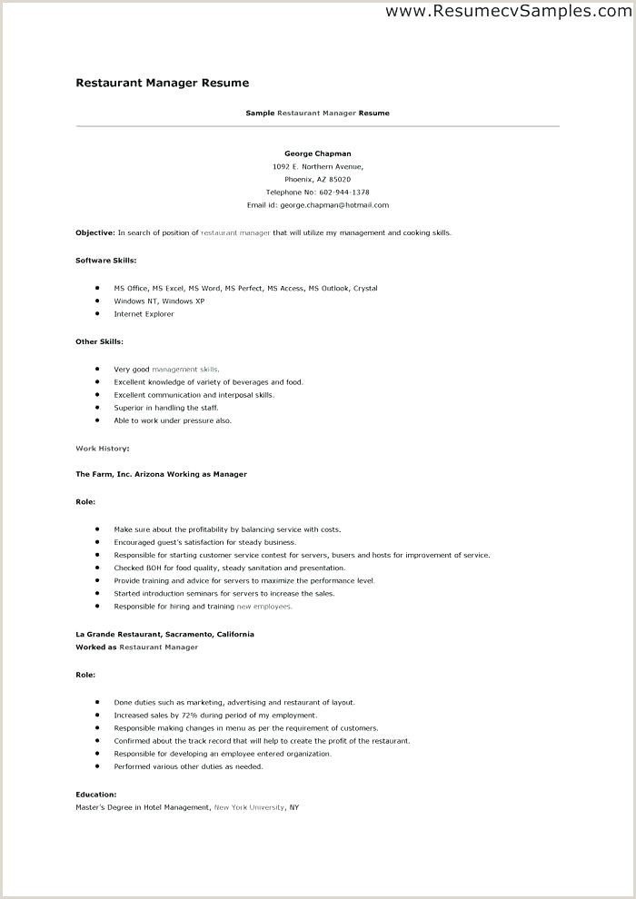 Cv Examples for Restaurant Jobs Restaurant Resume Example – Emelcotest