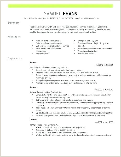 Cv Examples for Restaurant Jobs Resume Examples for Restaurant Jobs – Wikirian