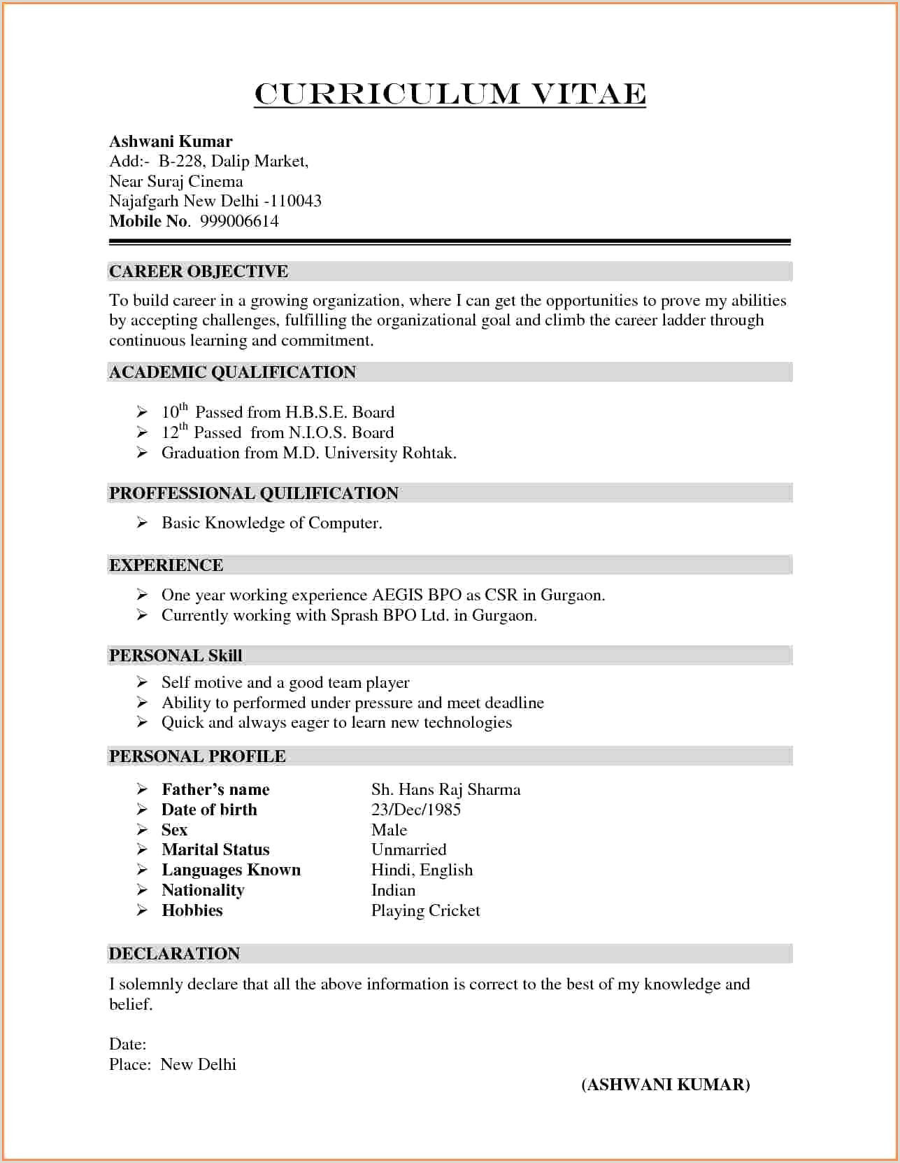 Cv format as A Fresher Curriculum Vitea Samples Latest Resume Anxjvo0r Education
