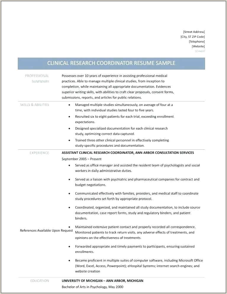 Cv format Clinical Research Professional Research associate Resume Sample – Emelcotest