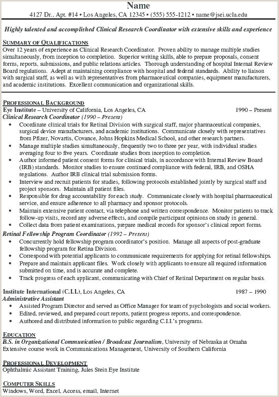 Cv format Clinical Research Professional Research Project Cover Letter