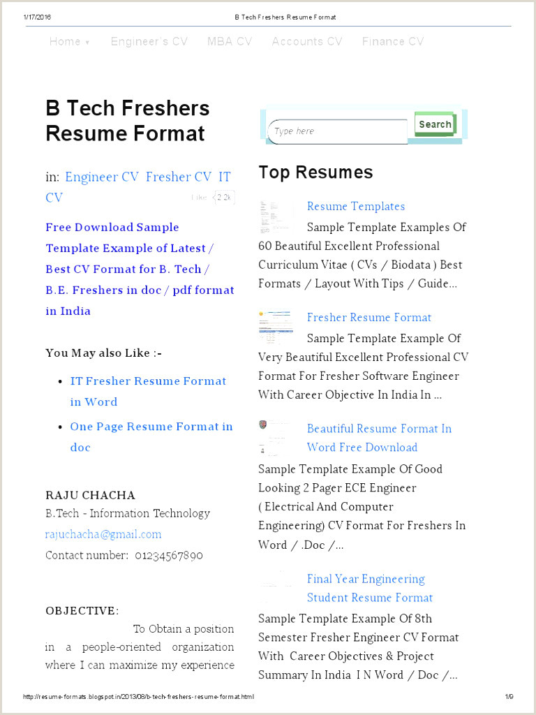 Cv Format Doc For Freshers Download Simple Format Resume For Fresher In Word Filename Biodata