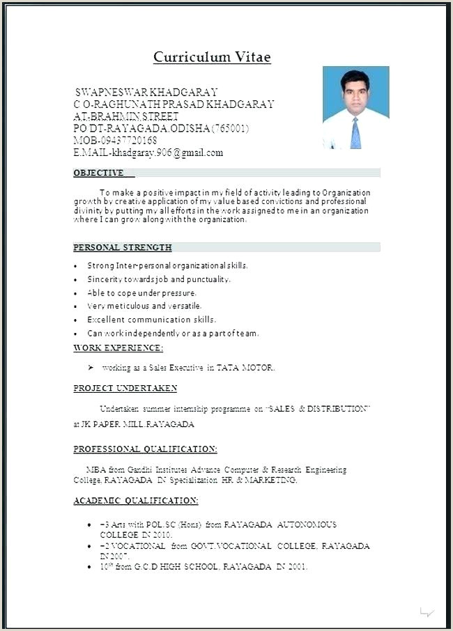 Cv Format Download For Freshers Engineer Sample Resumes – Growthnotes