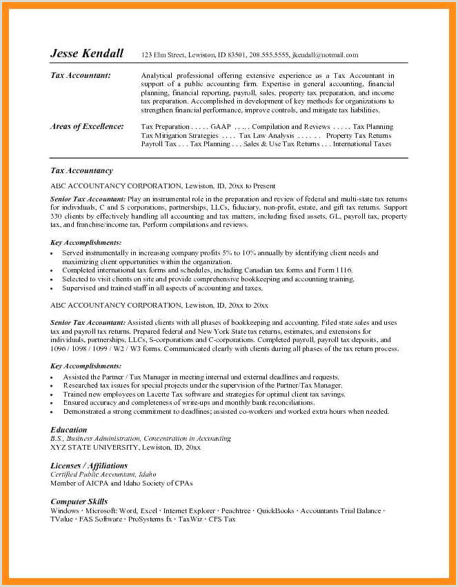 Cv format for Accountant Job In Ms Word 10 Accountant Resume Examples