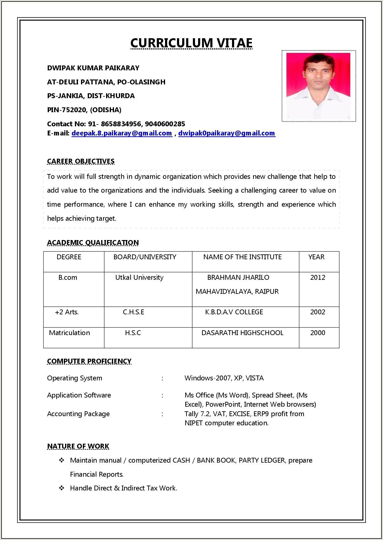 Simple Job Resume Format Pdf Resume Resume Designs