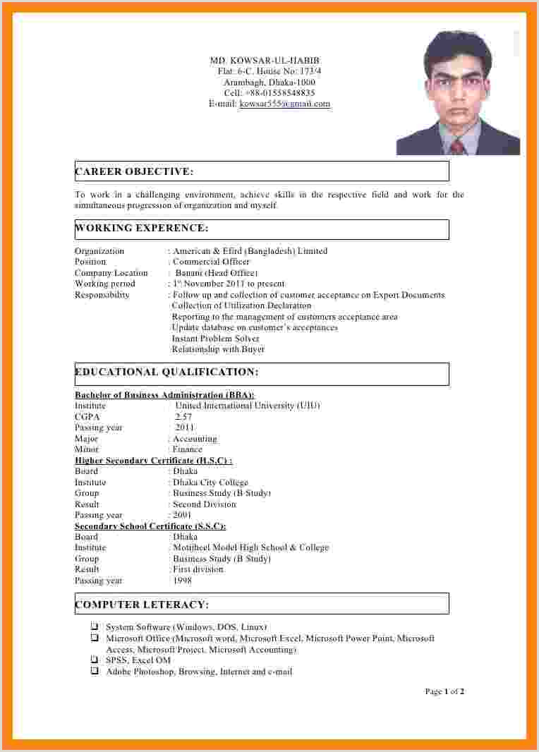 Cv format for Bangladesh Job 11 Latest C V format