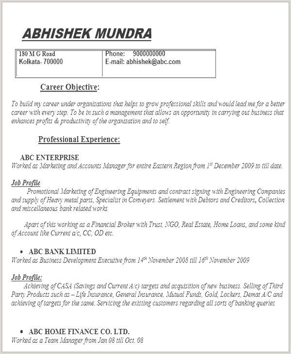 Cv Format For Bank Job Download Cv Manager Collections De Cv Resume Format Best Actor Resume