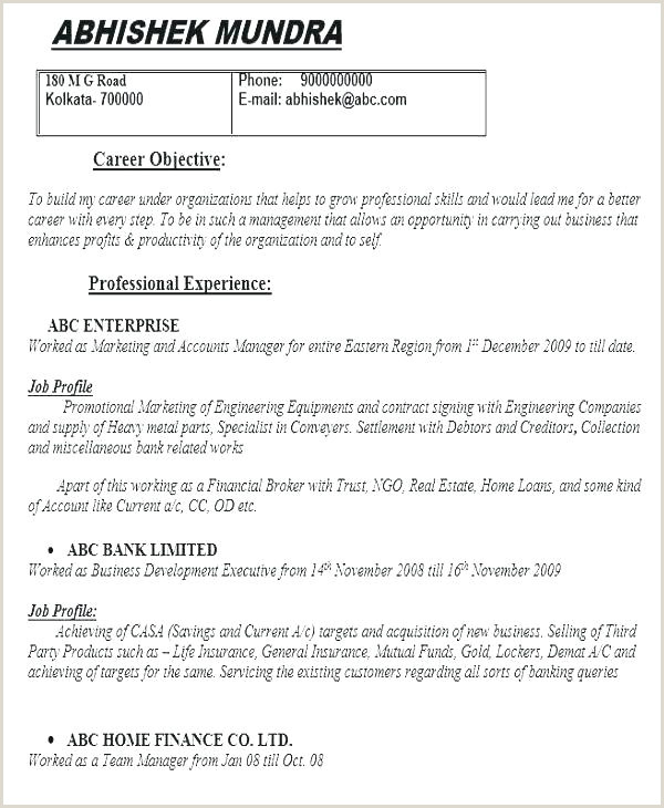 Cv format for Bank Job Fresher Resume Examples for Banking Jobs – Joefitnessstore
