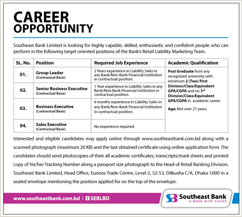Cv format for Bank Job In Bangladesh Pdf southeast Bank Ltd
