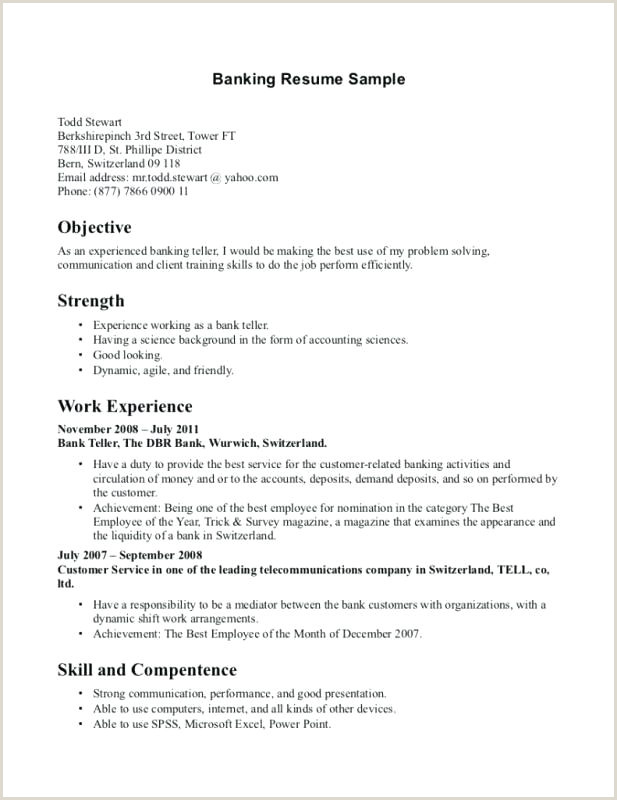 Cv format for Bank Job In India Resume Examples for Banking Jobs – Joefitnessstore