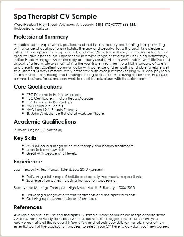 Cv Format For Bank Job In Sri Lanka Beauty Consultant Sample Therapist Cv Template Word
