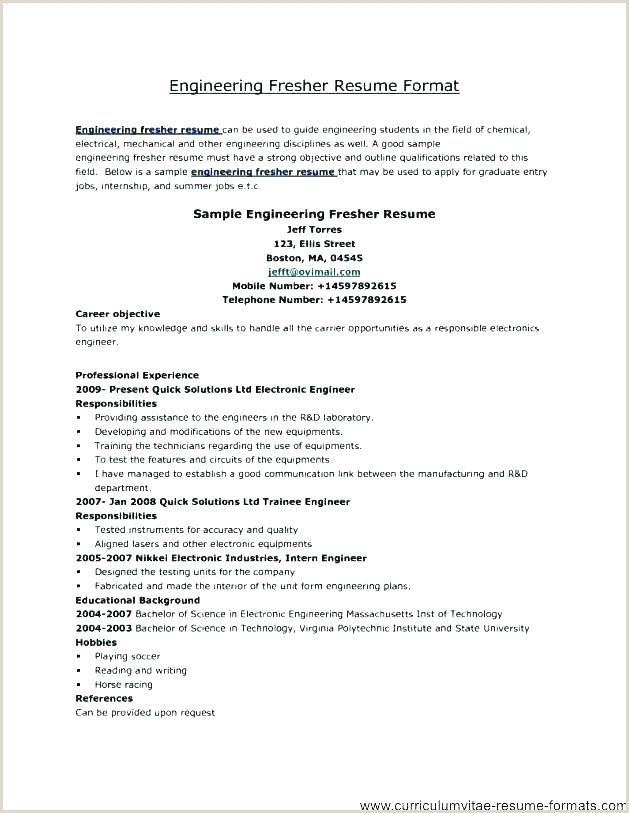 Cv format for Btech Fresher Download Engineering Cv Template – Silvasablog