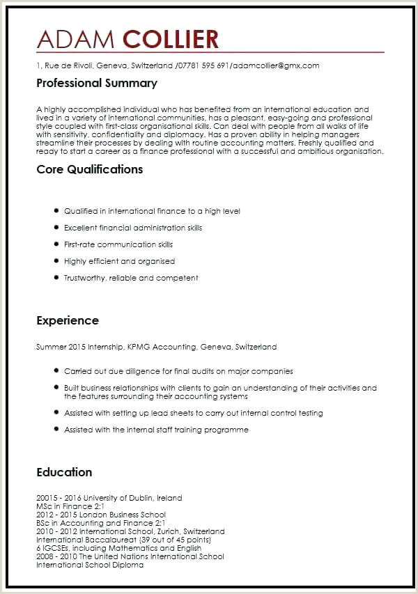 Cv format for Canadian Job Market International format Resume Job In New formats Professional