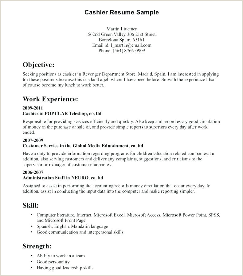 Cv format for Cashier Job Cashier Supervisor Sample Resume – Ruseeds
