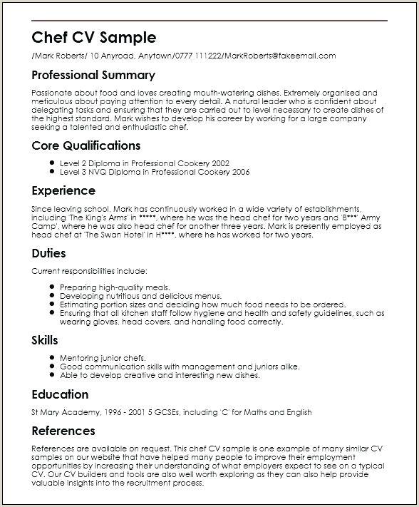 Cv Format For Chef Job Curriculum Vitae Vs Resume – Joefitnessstore
